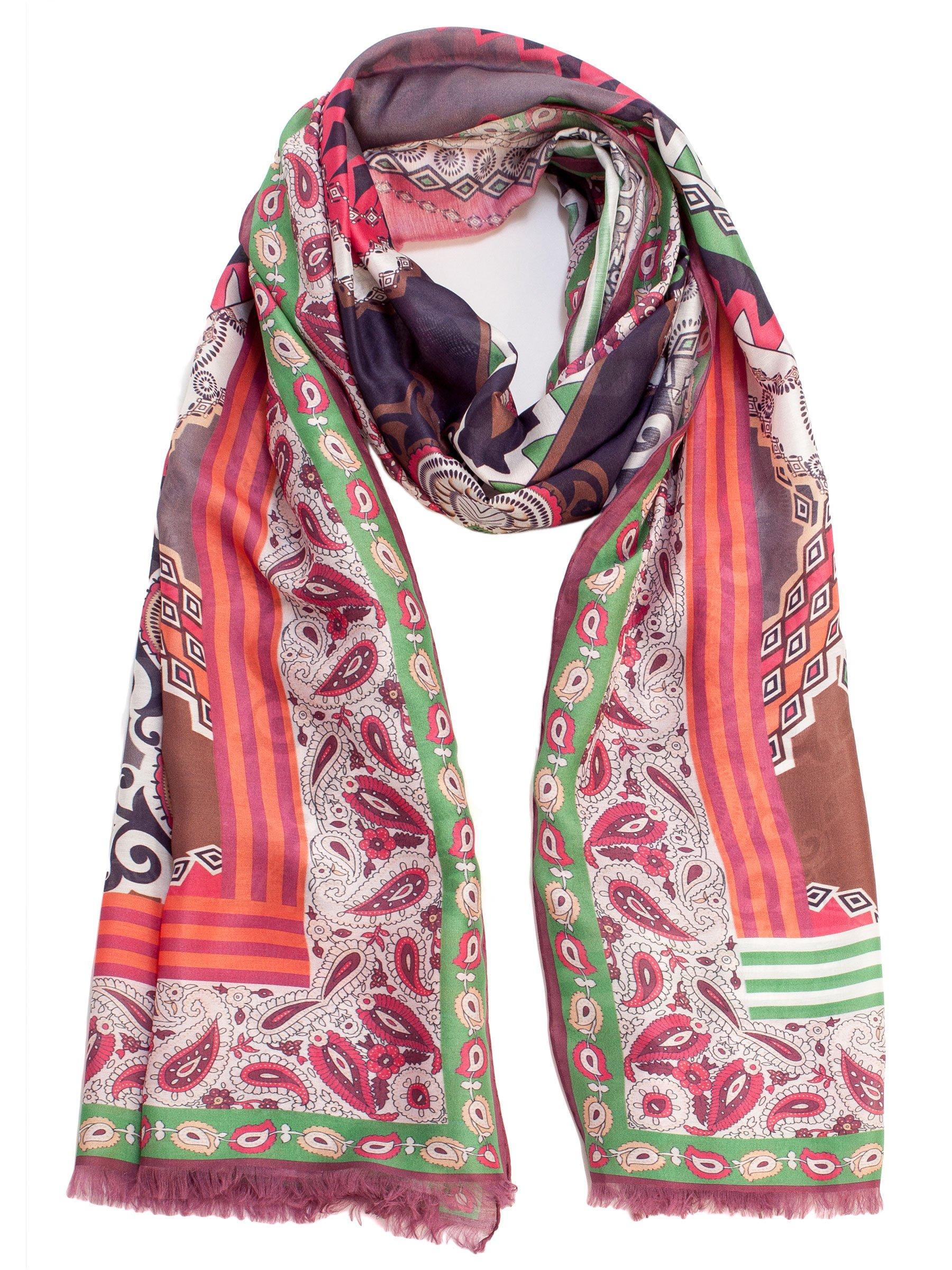 Elizabetta Women's Paisley Italian Pink & Green Scarf Wrap-Silk & Modal