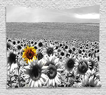 Modern Decor Tapestry By Ambesonne Sunflower Field Black And White With A Single Yellow Flower