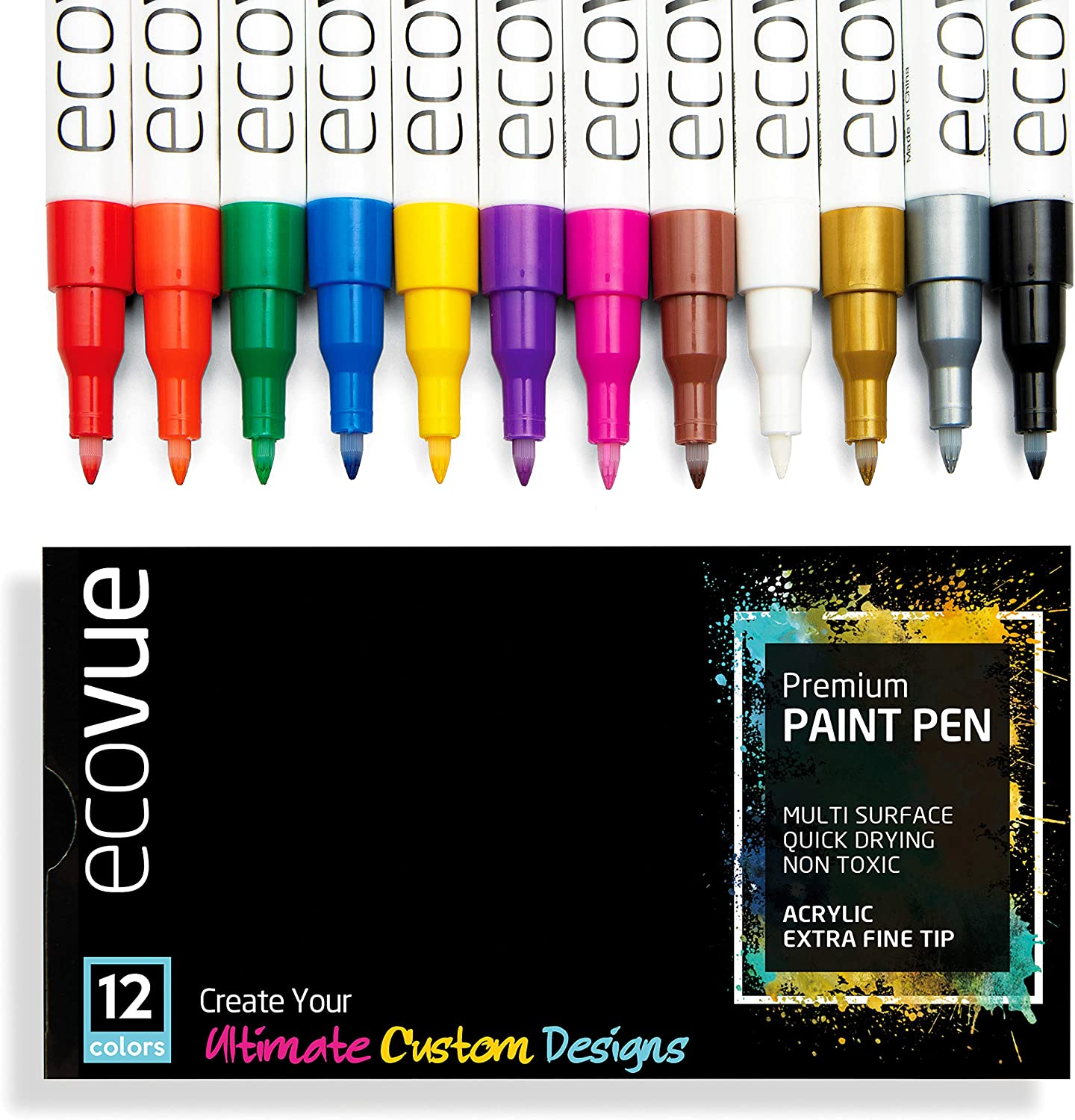 Ecovue Vibrant Paint Pens - 12 Bold Colors in Vivid, Permanent, Fast Drying, Waterproof Ink   Multi Surface Paint Markers for Rocks, Ceramic Mugs, Wine Glass Art, Wood, Clay (Acrylic - Extra Fine Tip)