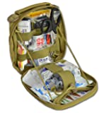 "Lightning X Products Premium Nylon MOLLE Pouch Emergency Kit, Ideal for Tactical Medics, Military, Outdoor Enthusiasts (8"" x 6.5"" x 3"", Black or Tan, Ideal for Gunshot Wounds and Bleeding Control)"