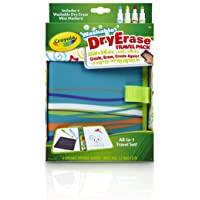 Crayola Washable Dry-Erase Travel Pack, All-In-One Travel Set Art Gift for Kids 4 & Up, Travel Folio with 2 Drawing Surfaces, 4 Dry Erase Pip-Squeak Markers in Classic Crayola Colors & E-Z Erase Cloth