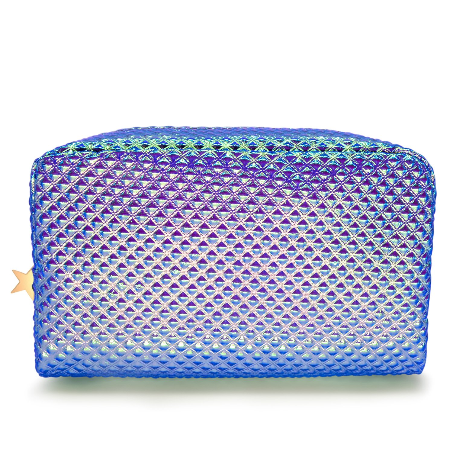 Frebeauty Holographic Cosmetic Bag Makeup Bag Toiletry Travel Bag Handy Large Protable Wash Pouch Waterproof Zipper Handbag Carry Case Organizer Mermaid Makeup Brush Bag(Shiny Purple Bag) by Frebeauty