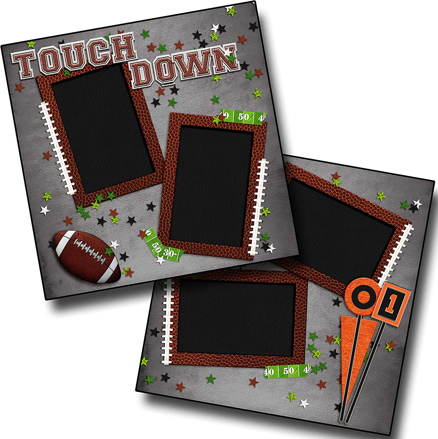 EZ Layout 4486 Touch Down Premade Scrapbook Pages Football