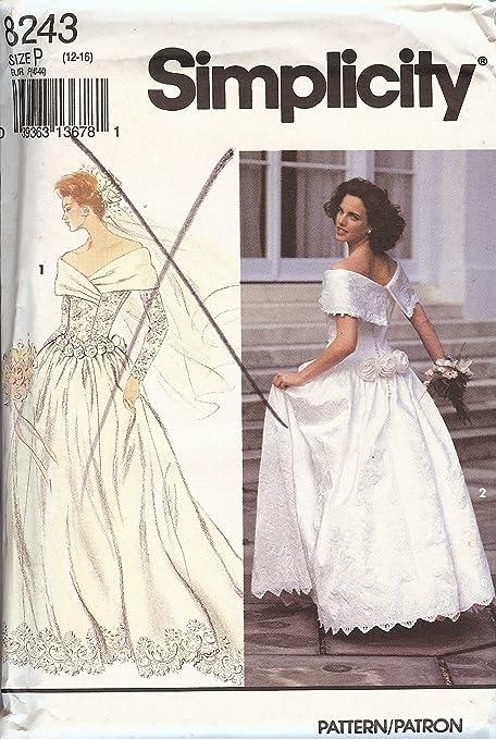 Amazon.com: Simplicity Pattern 8243 Misses\' Brides\' Dress, Size P ...