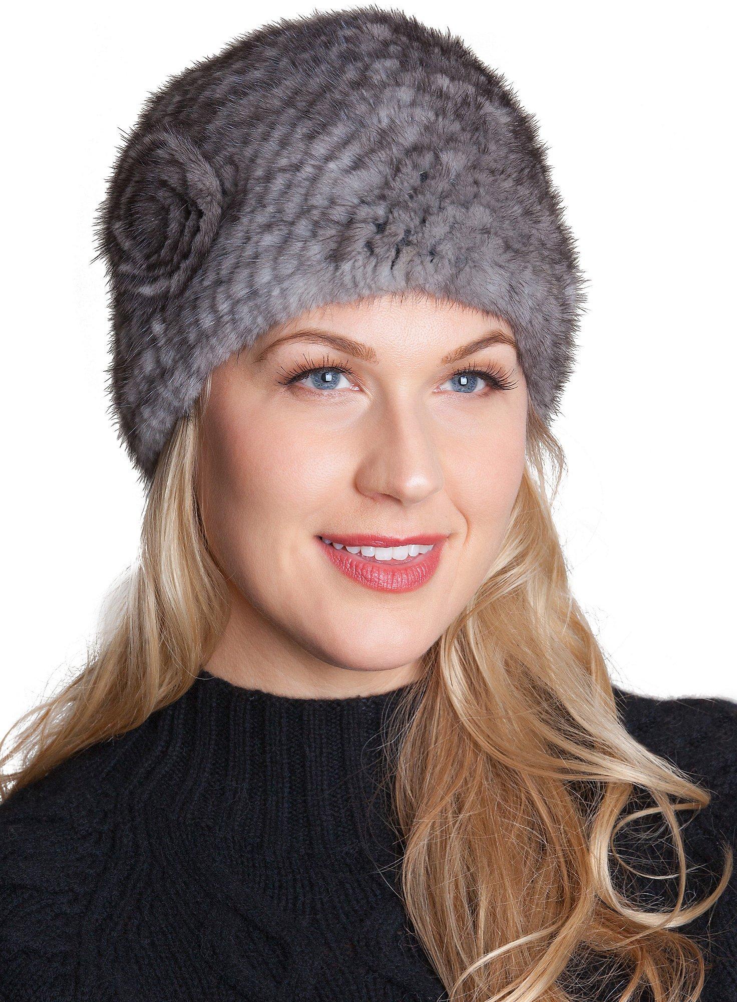 Overland Sheepskin Co. Knitted Mink Fur Beanie Hat With Fur Flower, Blue Iris, Size 1 Size