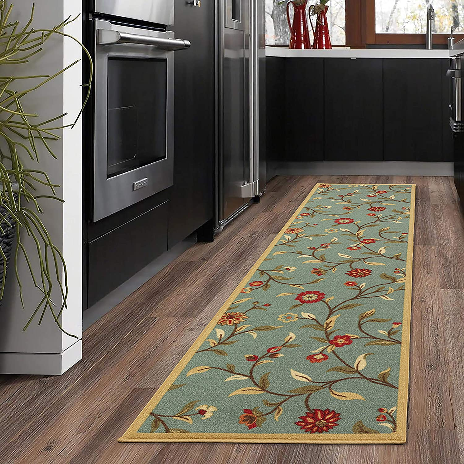 "Ottomanson Ottohome Collection Garden Design Modern Skid (Non-Slip) Rubber Backing (20"" X 59"", Sage Green Floral) Area Rug"
