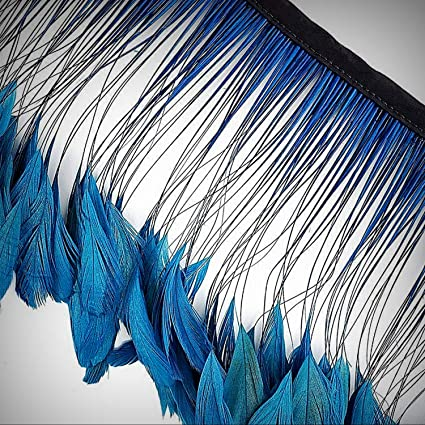 US Seller 15 Pcs.Light Blue Stripped Coque Rooster Feathers