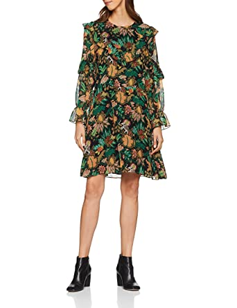 Dress Scotchamp; Soda Drapey Damen Printed Kleid Ruffle xBoQdeWrCE