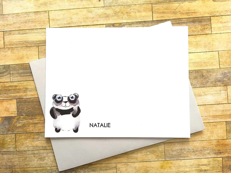 Personalized Panda Stationery Panda Note Cards Illustrated Panda Note Cards Panda Thank You Notes Folded Panda Note Cards