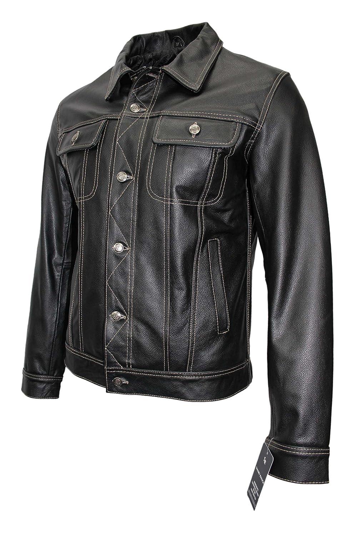 'TRUCKER' Men's BLACK COWHIDE Classic Western Real Genuine Leather Jacket