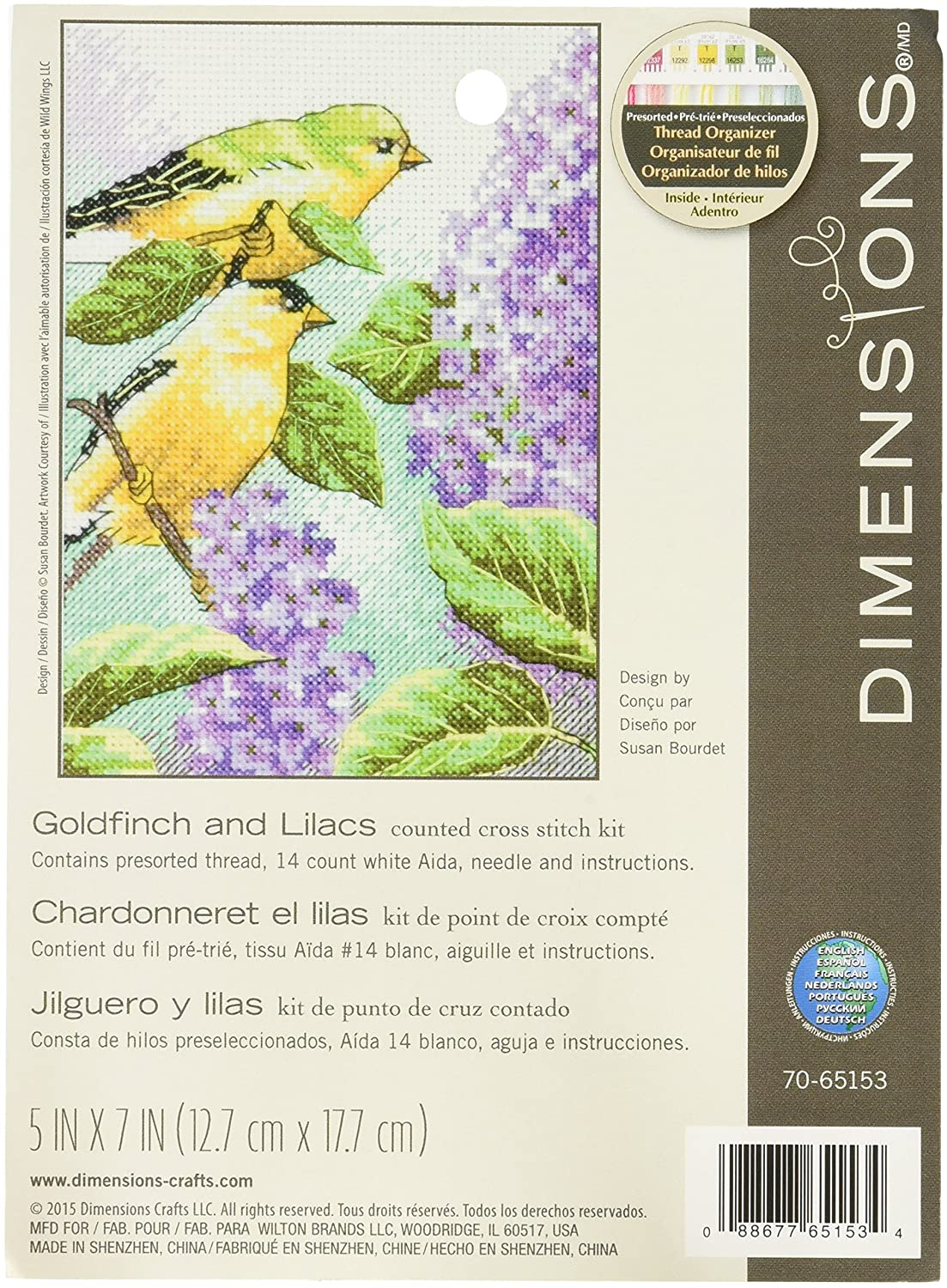 """Dimensions Goldfinch and Lilacs Counted Cross Stitch Kit 14 Count White Aida 5/"""" x 7/"""""""