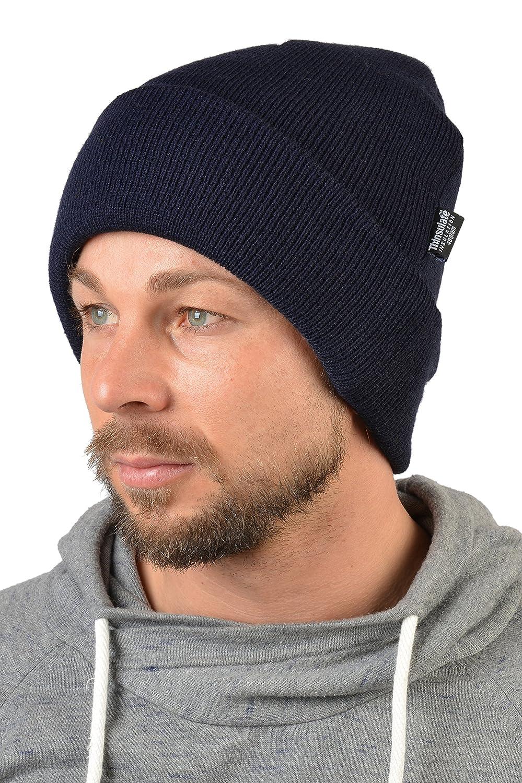 Herren wasserabweisende Skimütze in dunkelblau, Wintermütze, Mütze für Herren