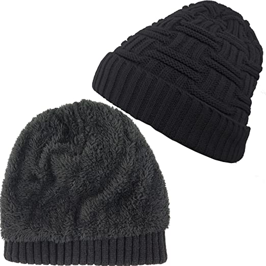 d907964290b83 Image Unavailable. Image not available for. Color  Debra Weitzner Mens  Womens Slouchy Beanie Knit Winter hat Warm Wool Fur Skull Cap Black