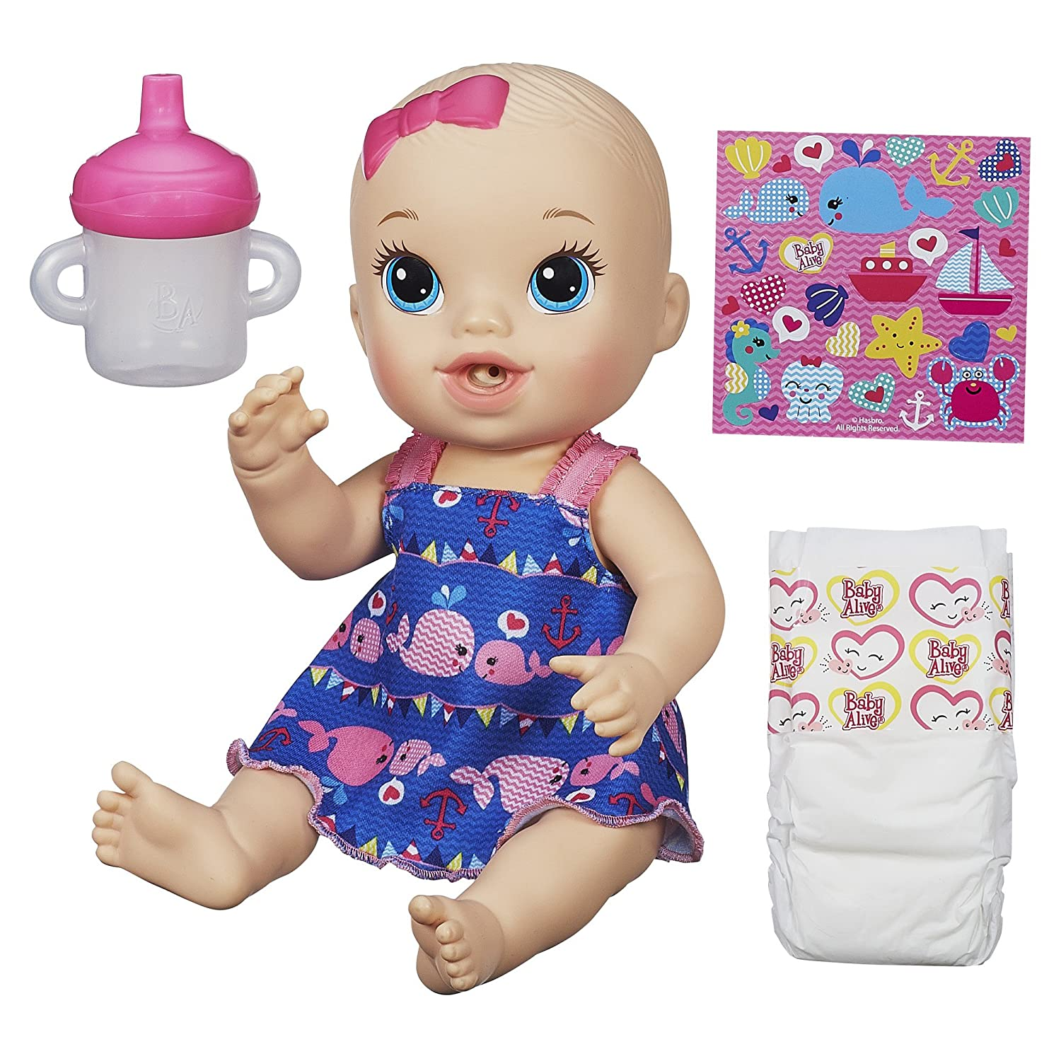 Amazon Baby Alive Sips n Cuddles Doll little whales dress
