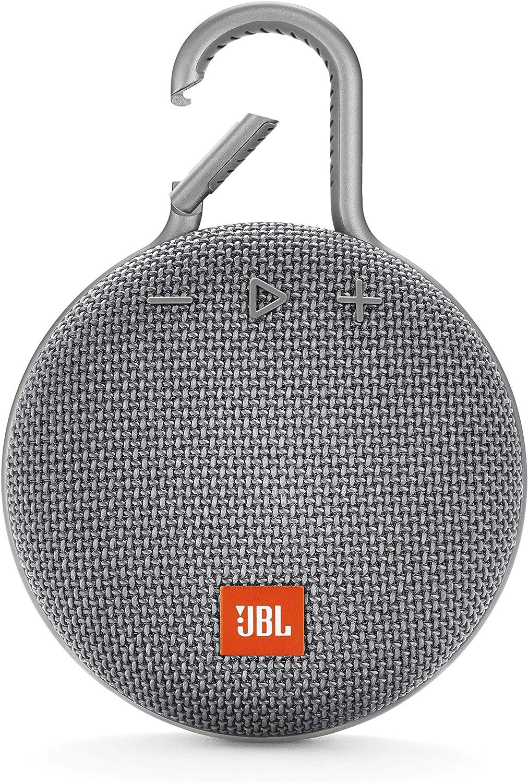JBL Clip 3 Altavoz inalámbrico portátil con Bluetooth – Parlante resistente al agua (IPX7) – 10h de música continua – Gris
