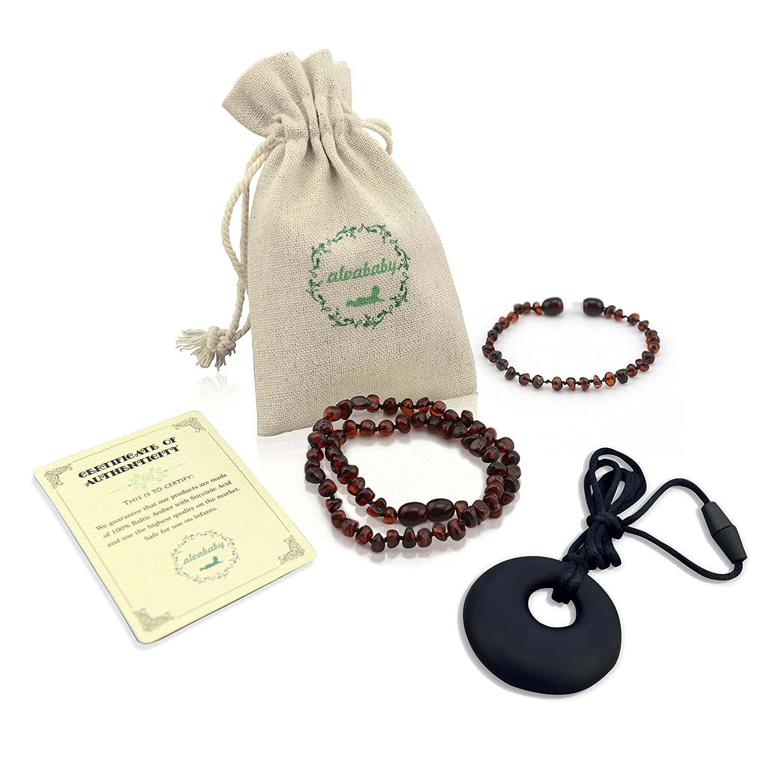 ALVABABY Amber Teething Necklace & Bracelet or Anklet for Babies (Unisex) - Anti Flammatory Drooling & Fussiness Reduce Amber Teething Bracelet or Anklet GNB05-CA