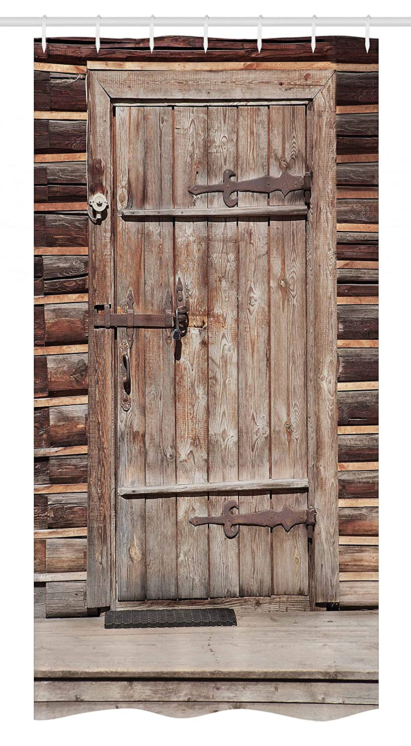 Ambesonne Rustic Stall Shower Curtain, Timber Rustic Door in Wall of an Old Log House Ancient Abandoned Building Entrance Gate, Fabric Bathroom Decor Set with Hooks, 36 W x 72 L Inches, Brown