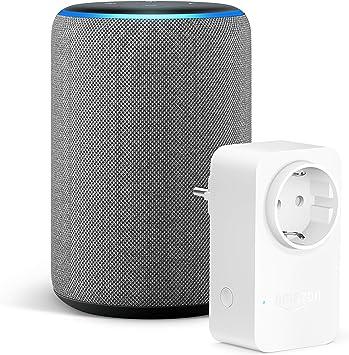 Image ofAmazon Echo (3.ª generación), Tela de color gris oscuro +Amazon Smart Plug (enchufe inteligente wifi), compatible con Alexa