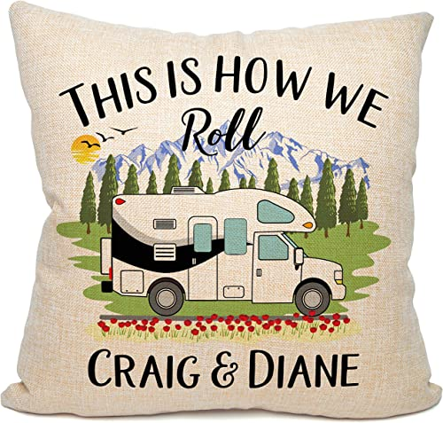 Camperdoodle This is How We Roll Personalized Class C Motorhome Themed Pillow, 18 Inches Square Black Trim Class C Motorhome on Faux Burlap Fabric