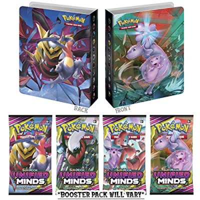 Pokemon TCG Sun & Moon Unified Minds Mini Binder Portfolio Collectors Album & 1 Unified Minds Booster Pack: Toys & Games