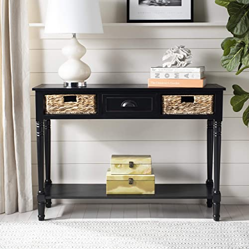 Safavieh American Homes Collection Christa Distressed Black Storage Console Table,