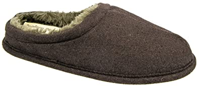 Mens Mule Slippers Brown Warm Lined Slip On Coolers