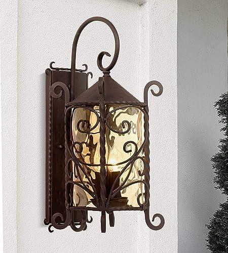 Casa Seville Rustic Outdoor Wall Light Fixture Mediterranean Inspired Dark Walnut Iron Scroll 23 3/4″ Lantern Champagne Hammered Gla