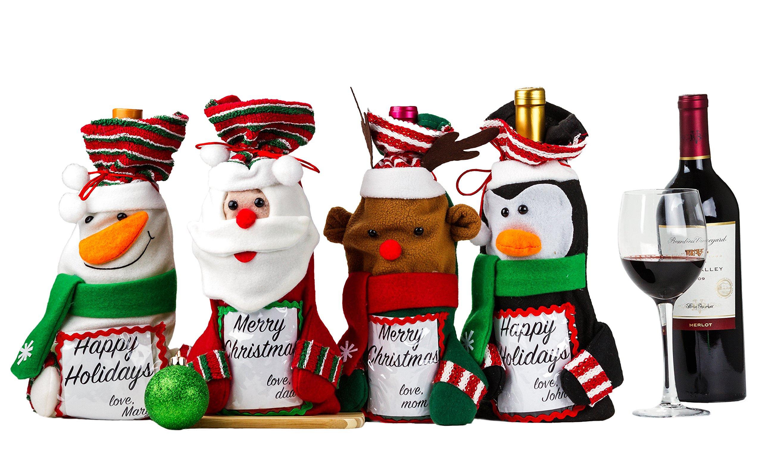 Amazon.com: 3 Pcs Santa Pants Christmas Wine Gift Bags - Christmas ...