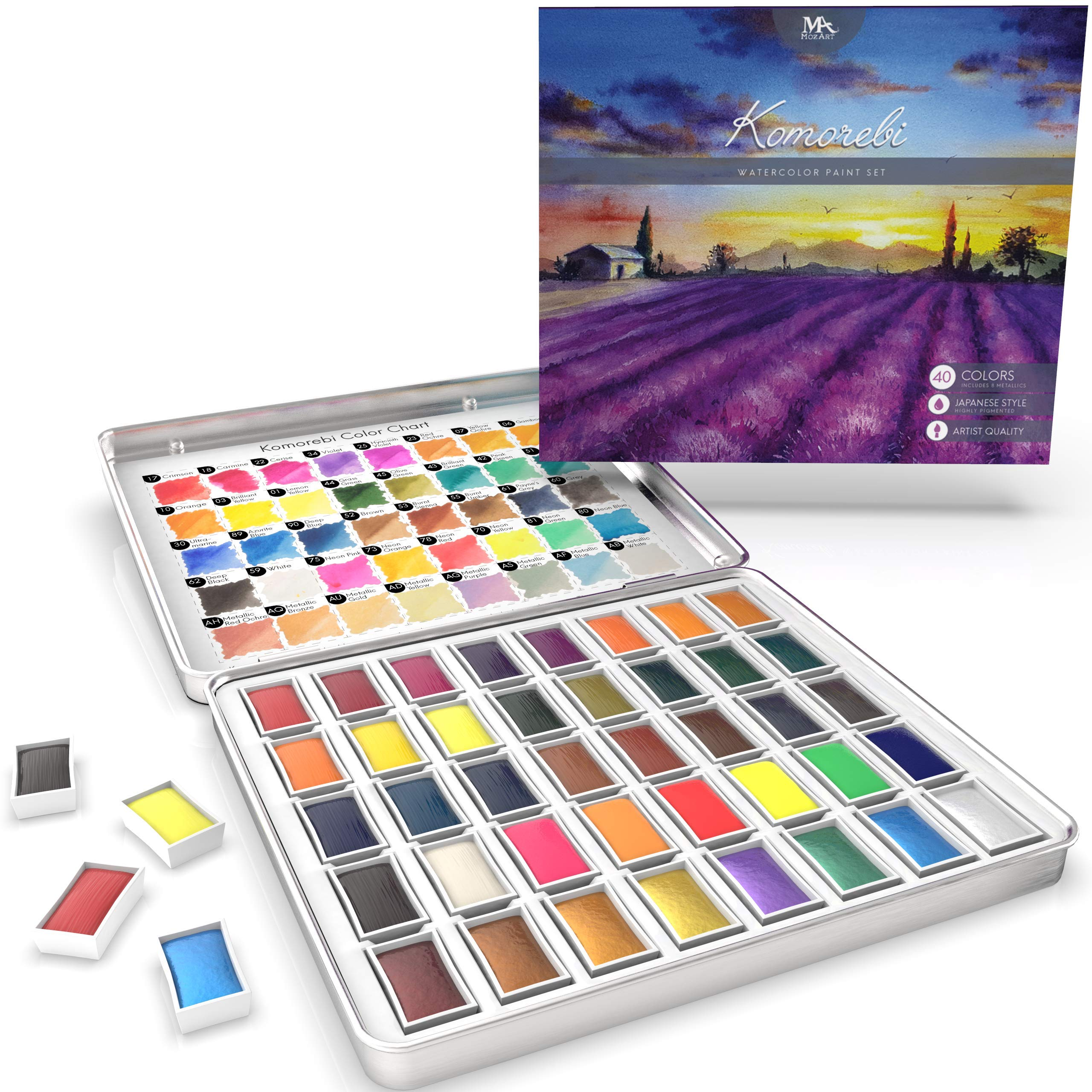 MozArt Supplies Komorebi Japanese Watercolor Paint Set - 40 Colors - Including Metallic and Neon - Artist Quality - Richly Pigmented- Perfect for Artists, Students or Hobbyists by MozArt Supplies