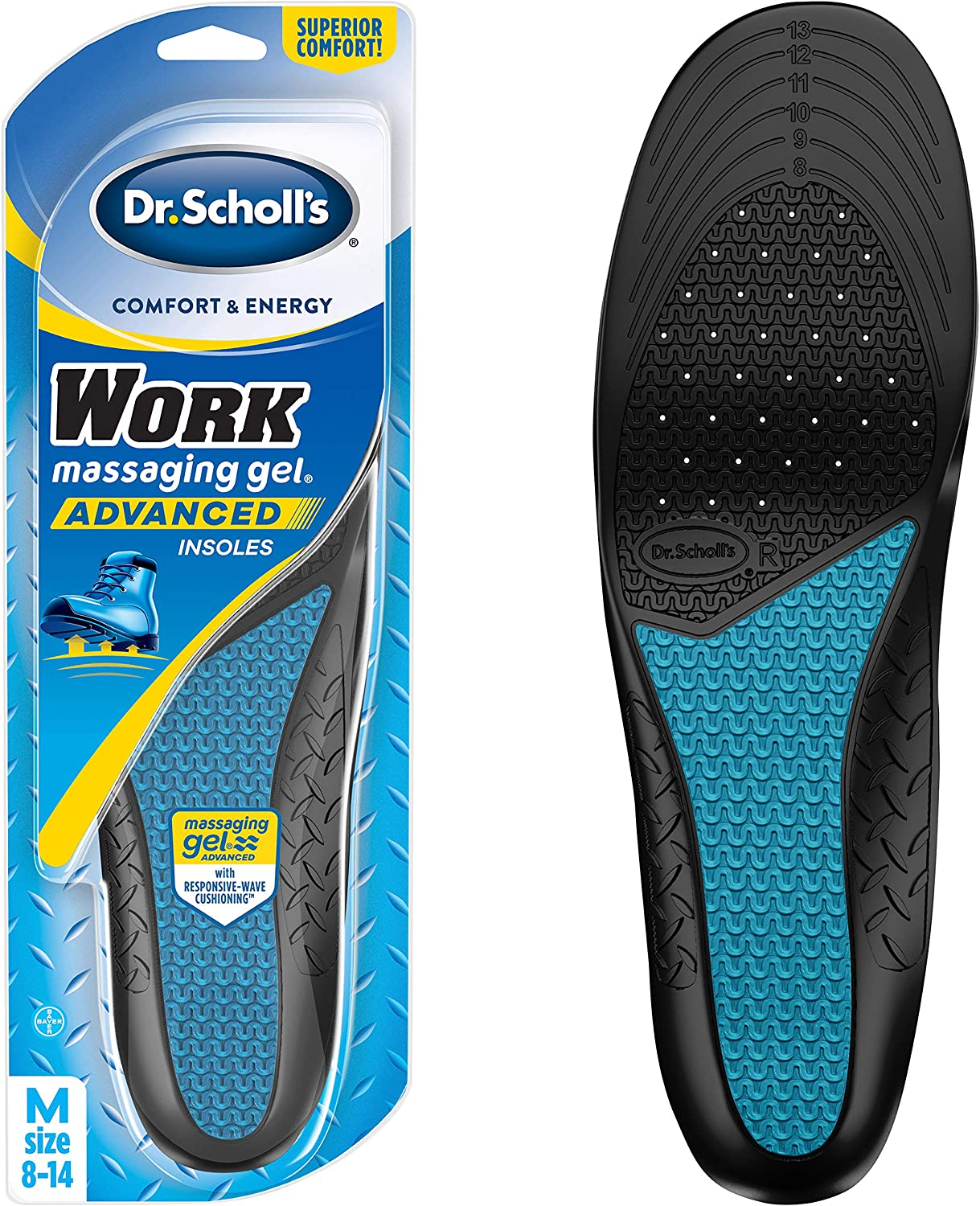 Dr. Scholl's WORK Massaging Gel Advanced Insoles for Men Shoe Inserts: Health & Personal Care