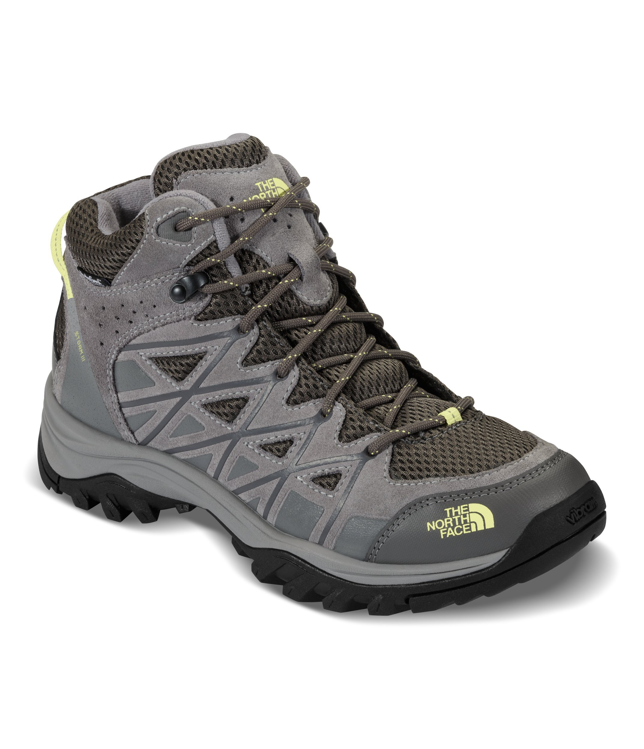 The North Face Women's Storm III Mid Waterproof Hiking Shoes Dargull Gray and Chiffon Yellow - 9