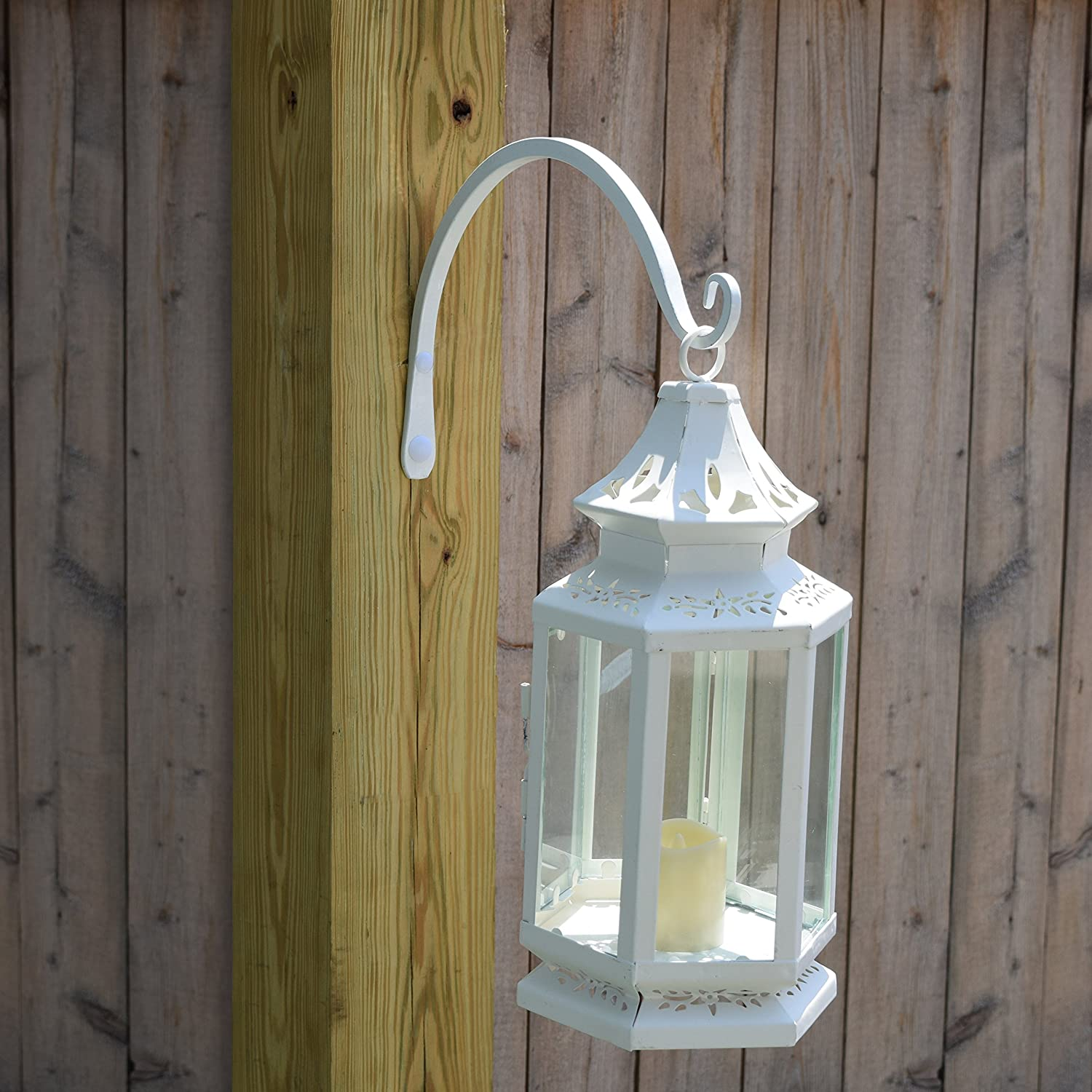Planters 8.5 Inch Gray Bunny GB-6863B Hand Forged Curved Hook Lanterns 2-Pack White Wind Chimes As Wall Brackets and More! for Bird Feeders