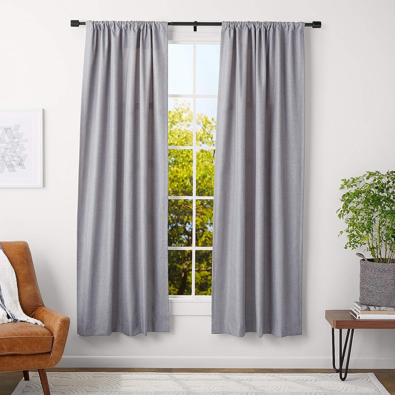 Amazonbasics 1 Inch Wall Curtain Rod With Cap Finials 36 To 72 Inch Black Amazon Ca Home Kitchen