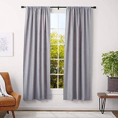 AmazonBasics 1-Inch Wall Curtain Rod with Cap Finials - 36 to 72 Inch, Black