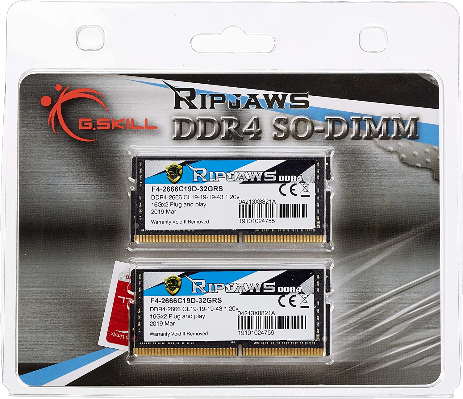 G.Skill SO-DIMM 32 GB DDR4-2666 Kit Memory F4-2666C19D-32GRS, Ripjaws
