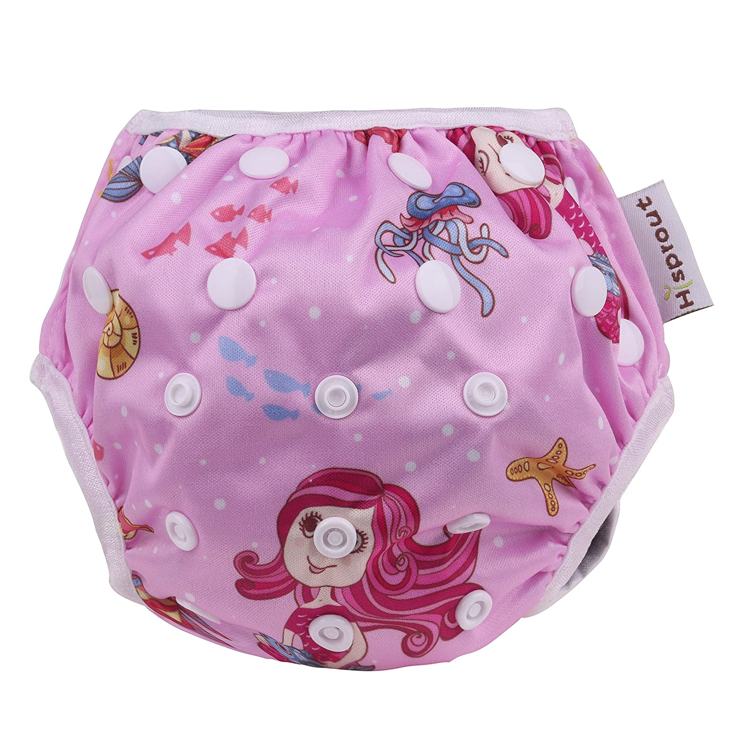 Cideros Waterproof Reusable Swim Diaper One Size Nappy for Babies Infants Leakproof Swimming Shorts Breathable Knitted Fabric Watersport Swimwear - Dolphin