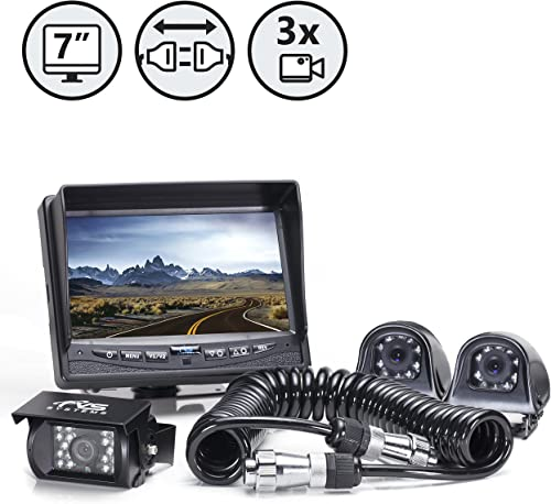 Rear View Safety Backup Camera System with Side Cameras and Multi Camera Quick Connect Kit for Fifth Wheels, Trailers, Travel Trailers and Semi-Trucks RVS-770616-2133