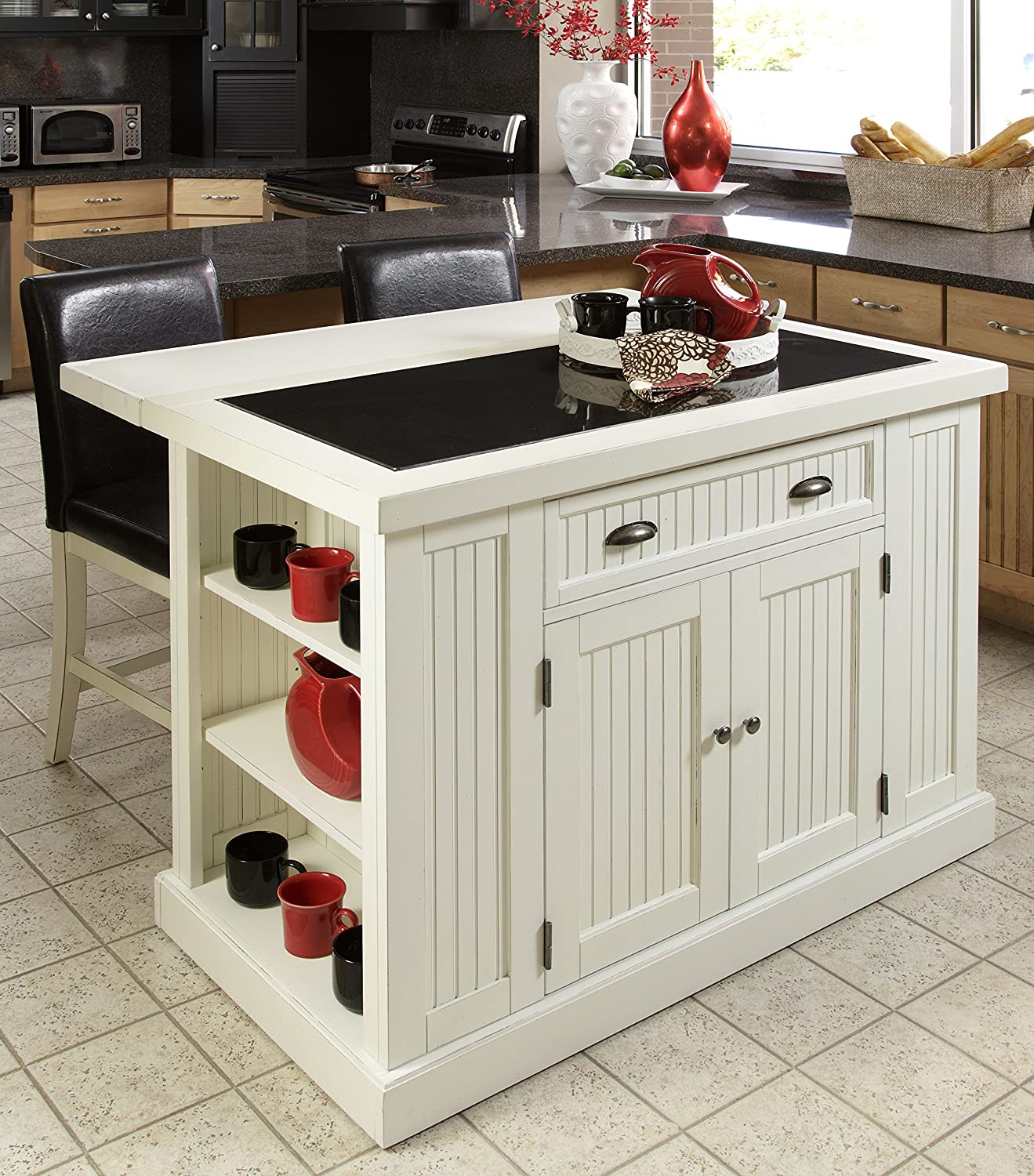 nantucket distressed white finish kitchen island