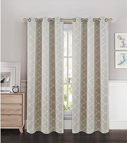 Bella Luna Selena Embroidered Thermal Room Darkening Grommet Curtain Panel Pair