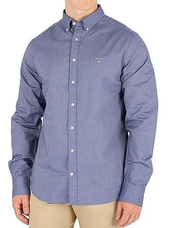 81f61075 Gant Oxford Mens Persian Blue Long Sleeve Shirt: Amazon.co.uk: Clothing