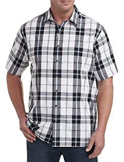 DXL Synrgy Big and Tall Plaid Microfiber Sport Shirt Grey