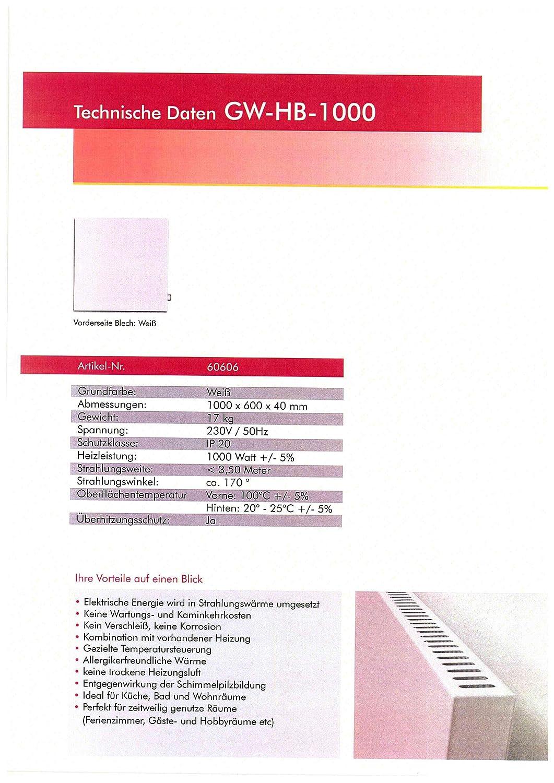Infrarotheizung 1000 Watt Heizung Dreh/Thermostatregler ...
