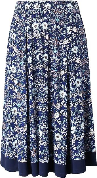 Chicwe Mujeres Tallas Grandes Plisada Falda de Tablas con Cintura ...