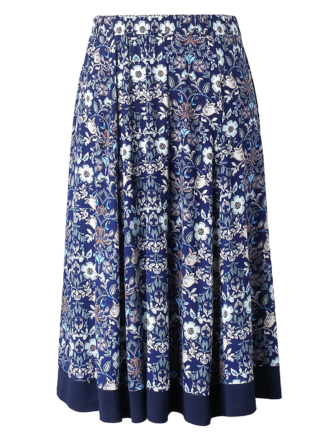 Chicwe Women's Plus Size Flared Elastic Waist Skirt with Calf Length 1X-4X C18C259
