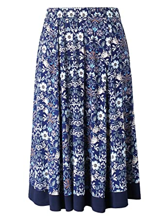 fae750e6479 Chicwe Women s Plus Size Calf Length Flared Elastic Waist Skirt - Casual  and Work Skirt 1X