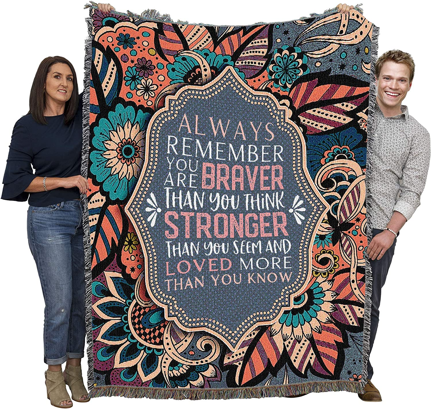 Always Remember You are Braver Than You Think - Cotton Woven Blanket Throw - Made in The USA (72x54)