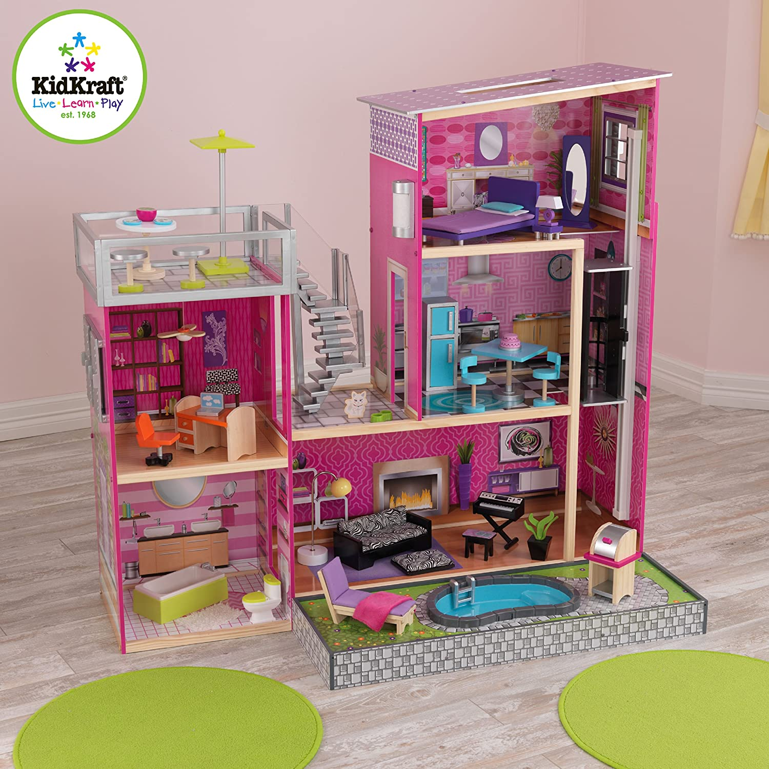 Kids craft doll house - Amazon Com Kidkraft Girl S Uptown Dollhouse With Furniture Toys Games