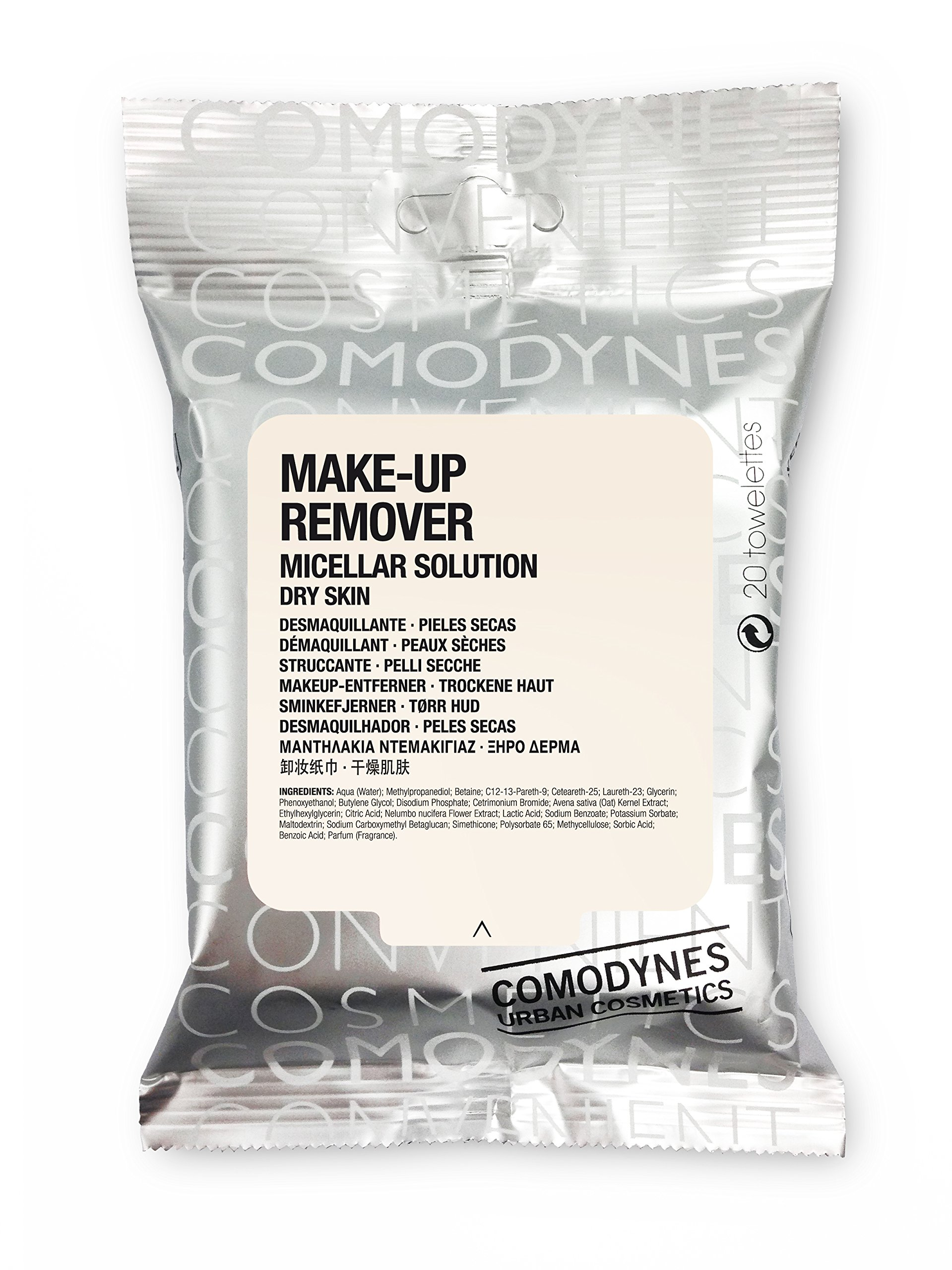 Comodynes Makeup Removers Toweletts for Face and Eyes with Oats for Dry Skin. 3 -20 towels packs by Comodynes (Image #1)