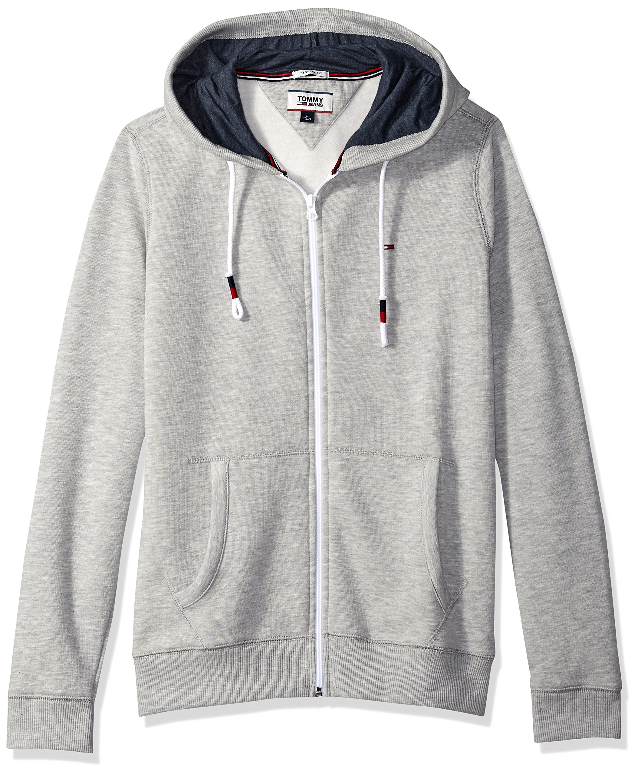 Tommy Jeans Men's Hoodie Full Zip up Sweatshirt, Light Grey Heather, Medium