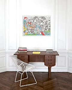 Omy Giant Coloring Poster, Crazy Museum, 40 x 28 inches, Creative Fun and Play for Kids, Adults, and the Whole Family